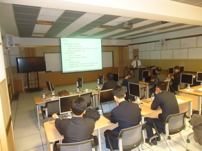 Mike Izbicki teaching open source software in North Korea