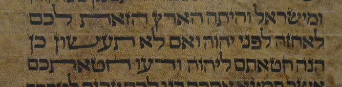 stretching the shem letter in a Hebrew Torah scroll