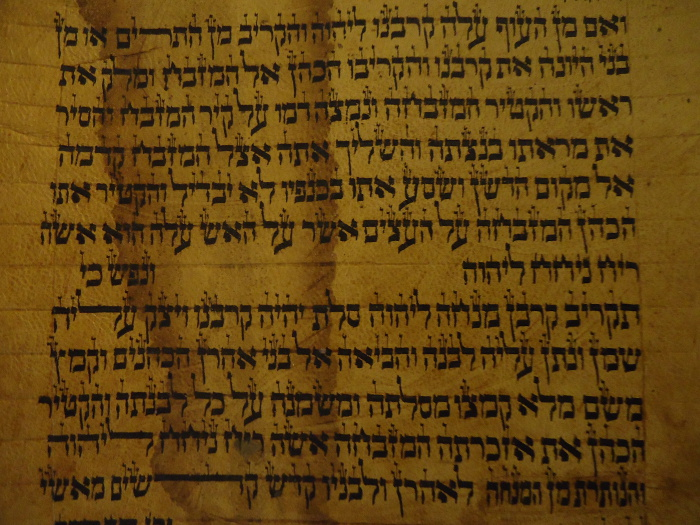 water damage on a torah scroll