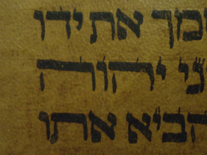 stretched yahweh in Hebrew Torah scroll